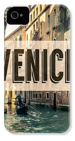 Retro Venice Grand Canal Poster IPhone 4 Case by Mr Doomits