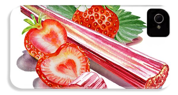 IPhone 4 Case featuring the painting Rhubarb Strawberry by Irina Sztukowski