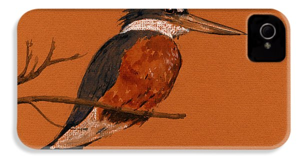 Ringed Kingfisher Bird IPhone 4 Case by Juan  Bosco