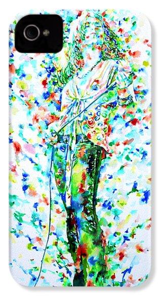 Robert Plant Singing - Watercolor Portrait IPhone 4 Case by Fabrizio Cassetta