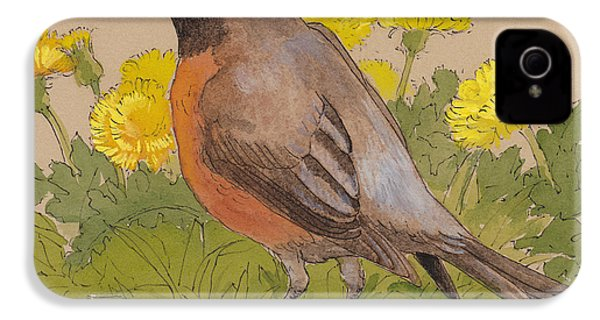 Robin In The Dandelions IPhone 4 Case by Tracie Thompson