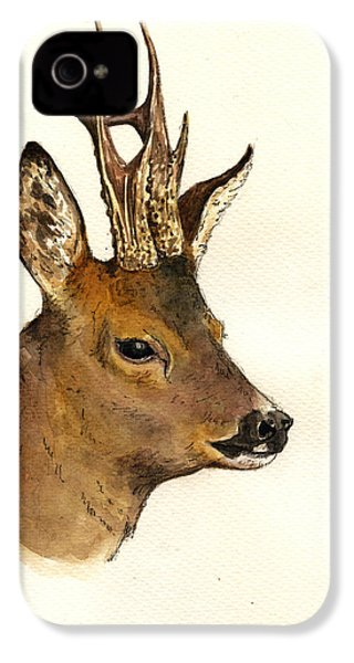 Roe Deer Head Study IPhone 4 Case by Juan  Bosco