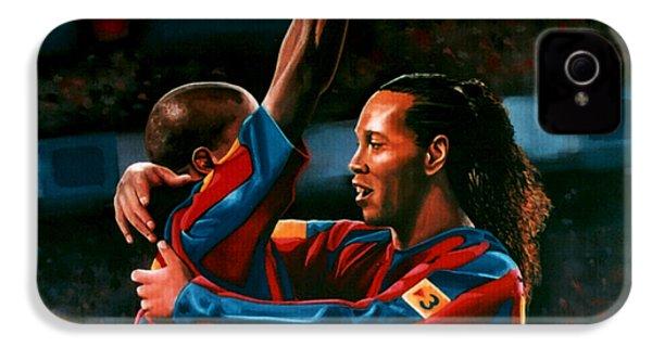 Ronaldinho And Eto'o IPhone 4 Case by Paul Meijering