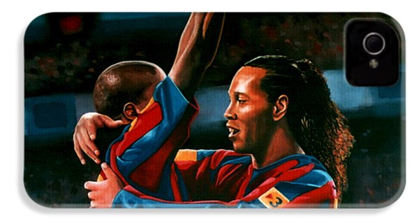Ronaldinho And Eto'o IPhone 4 / 4s Case by Paul Meijering
