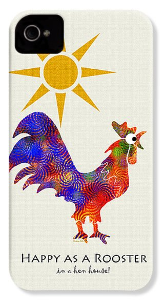 Rooster Pattern Art IPhone 4 Case by Christina Rollo