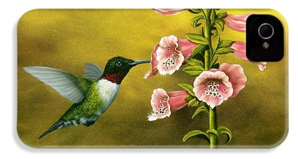Ruby Throated Hummingbird And Foxglove IPhone 4 / 4s Case by Rick Bainbridge