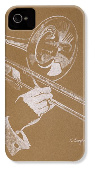 Sacred Trombone IPhone 4 Case by Karen  Loughridge KLArt