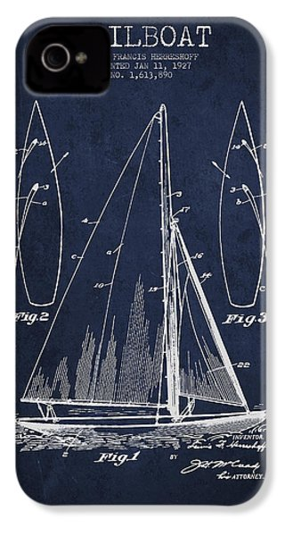 Sailboat Patent Drawing From 1927 IPhone 4 / 4s Case by Aged Pixel