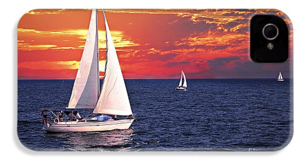 Sailboats At Sunset IPhone 4 Case by Elena Elisseeva