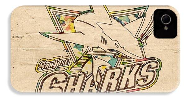 San Jose Sharks Vintage Poster IPhone 4 Case by Florian Rodarte