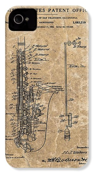 Saxophone Patent Design Illustration IPhone 4 / 4s Case by Dan Sproul
