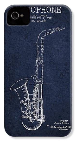 Saxophone Patent Drawing From 1937 - Blue IPhone 4 Case by Aged Pixel