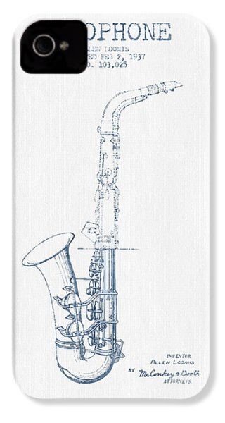 Saxophone Patent Drawing From 1937 - Blue Ink IPhone 4 / 4s Case by Aged Pixel