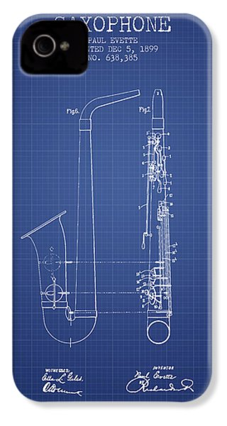 Saxophone Patent From 1899 - Blueprint IPhone 4 / 4s Case by Aged Pixel