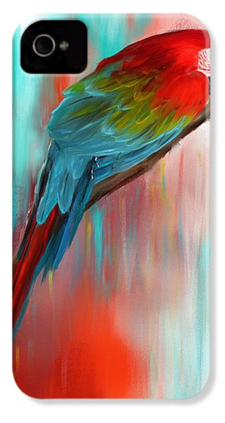 Scarlet- Red And Turquoise Art IPhone 4 Case by Lourry Legarde