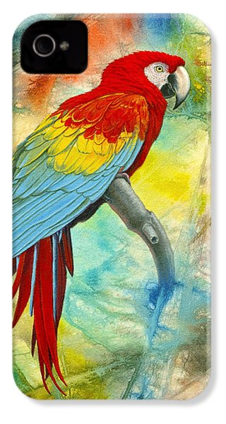 Scarlet Macaw In Abstract IPhone 4 Case by Paul Krapf