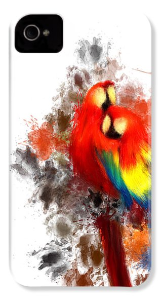 Scarlet Macaw IPhone 4 Case by Lourry Legarde