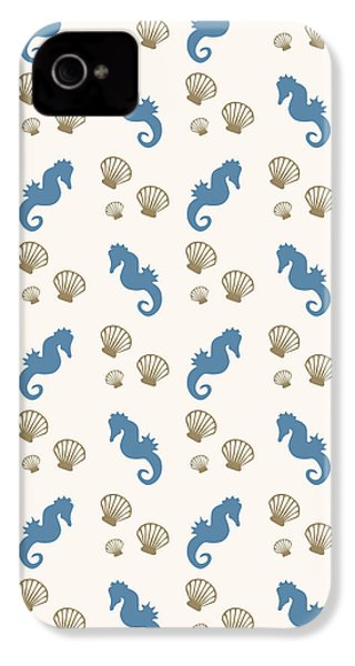 Seahorse And Shells Pattern IPhone 4 / 4s Case by Christina Rollo