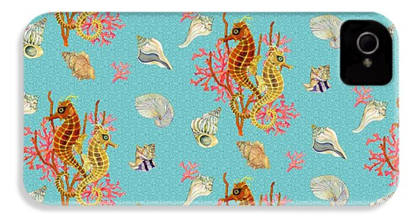 Seahorses Coral And Shells IPhone 4 Case by Kimberly McSparran