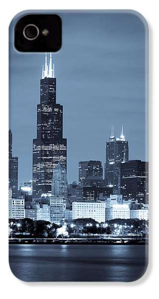 Sears Tower In Blue IPhone 4 / 4s Case by Sebastian Musial
