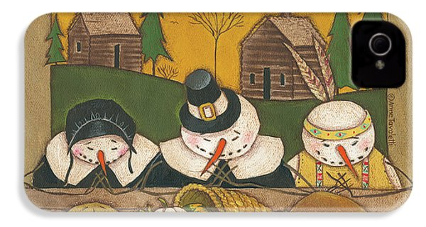 Seasonal Snowman Xi IPhone 4 / 4s Case by Anne Tavoletti