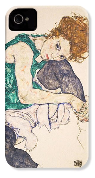 Seated Woman With Legs Drawn Up. Adele Herms IPhone 4 Case by Egon Schiele