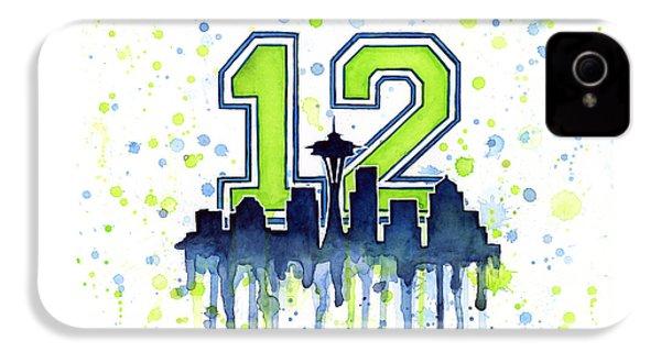 Seattle Seahawks 12th Man Art IPhone 4 Case
