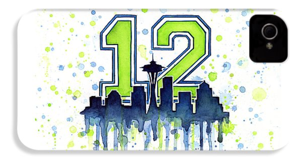 Seattle Seahawks 12th Man Art IPhone 4 Case by Olga Shvartsur