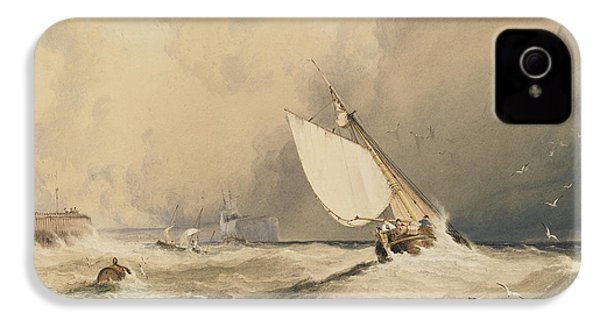 Ships At Sea Off Folkestone Harbour Storm Approaching IPhone 4 Case by Anthony Vandyke Copley Fielding