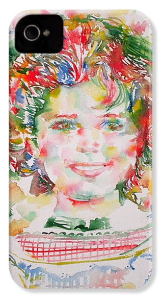 Shirley Temple - Watercolor Portrait.1 IPhone 4 Case by Fabrizio Cassetta