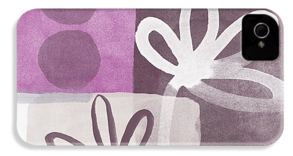Simple Flowers- Contemporary Painting IPhone 4 Case by Linda Woods