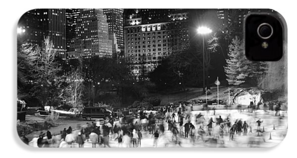 IPhone 4 Case featuring the photograph New York City - Skating Rink - Monochrome by Dave Beckerman