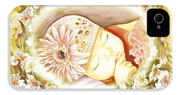 IPhone 4 Case featuring the painting Sleeping Baby Vintage Dreams by Irina Sztukowski