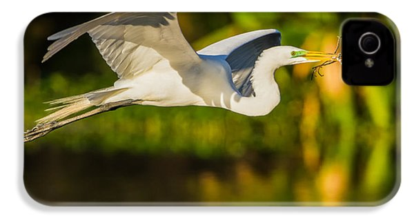 Snowy Egret Flying With A Branch IPhone 4 Case