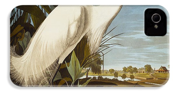 Snowy Heron Or White Egret IPhone 4 Case by John James Audubon