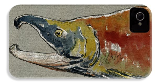 Sockeye Salmon Head Study IPhone 4 / 4s Case by Juan  Bosco