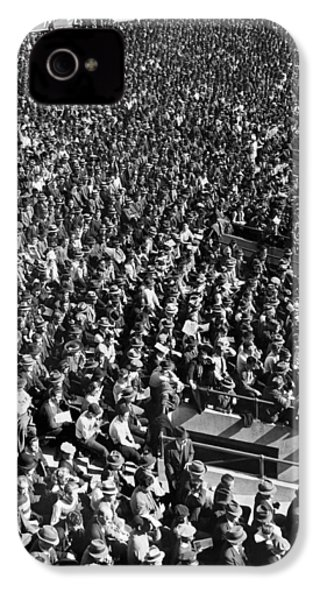 Baseball Fans At Yankee Stadium In New York   IPhone 4 Case by Underwood Archives