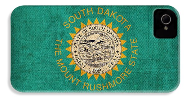 South Dakota State Flag Art On Worn Canvas IPhone 4 / 4s Case by Design Turnpike