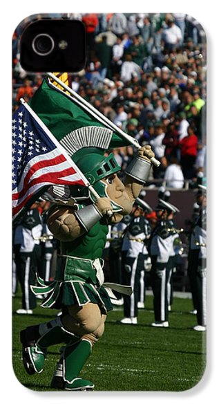 Sparty At Football Game IPhone 4 Case by John McGraw