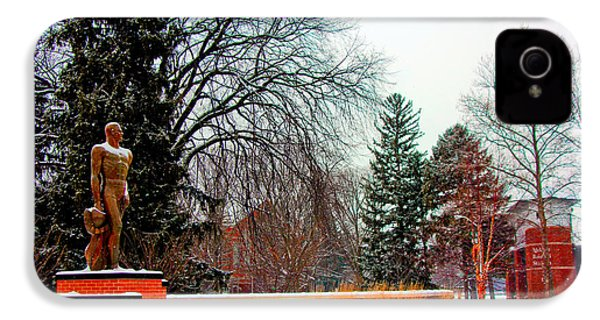 Sparty In Winter  IPhone 4 Case by John McGraw