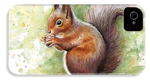 Squirrel Watercolor Art IPhone 4 / 4s Case by Olga Shvartsur