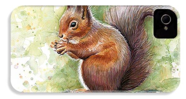 Squirrel Watercolor Art IPhone 4 Case by Olga Shvartsur