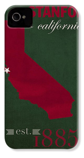 Stanford University Cardinal Stanford California College Town State Map Poster Series No 100 IPhone 4 Case
