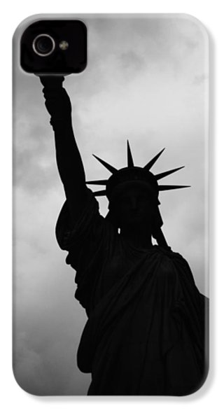 IPhone 4 Case featuring the photograph Statue Of Liberty Silhouette by Dave Beckerman