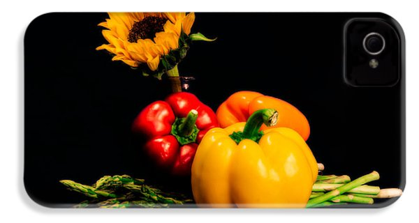 Still Life Peppers Asparagus Sunflower IPhone 4 / 4s Case by Jon Woodhams