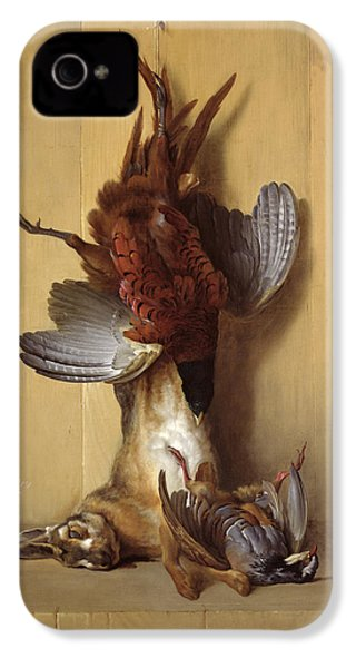 Still Life With A Hare, A Pheasant And A Red Partridge IPhone 4 Case by Jean-Baptiste Oudry