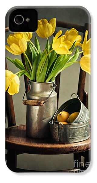 Still Life With Yellow Tulips IPhone 4 Case by Nailia Schwarz