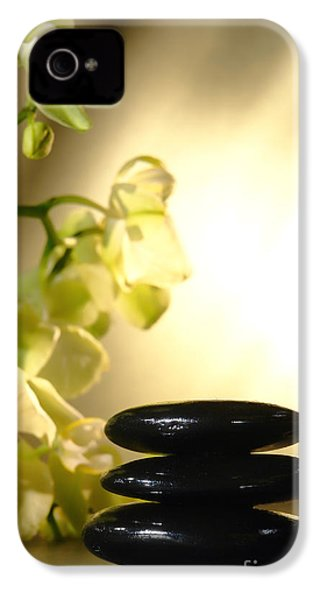 Stone Cairn And Orchids IPhone 4 Case by Olivier Le Queinec