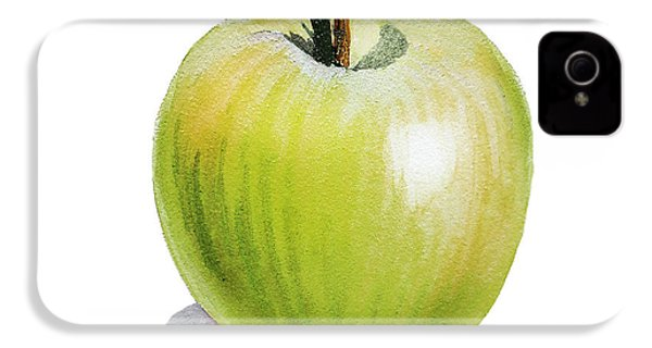 IPhone 4 Case featuring the painting Sun Kissed Green Apple by Irina Sztukowski