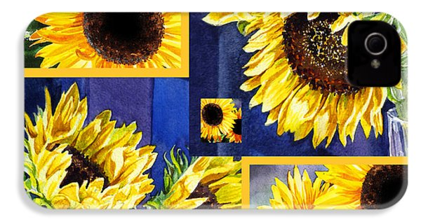 IPhone 4 Case featuring the painting Sunflowers Sunny Collage by Irina Sztukowski